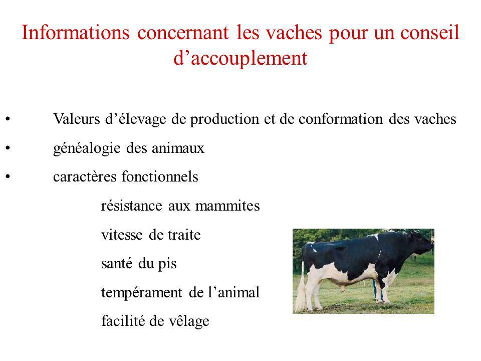 Informations concernant les vaches pour un conseil daccouplement Valeurs délevage de production et de conformation des vaches généalogie des animaux c