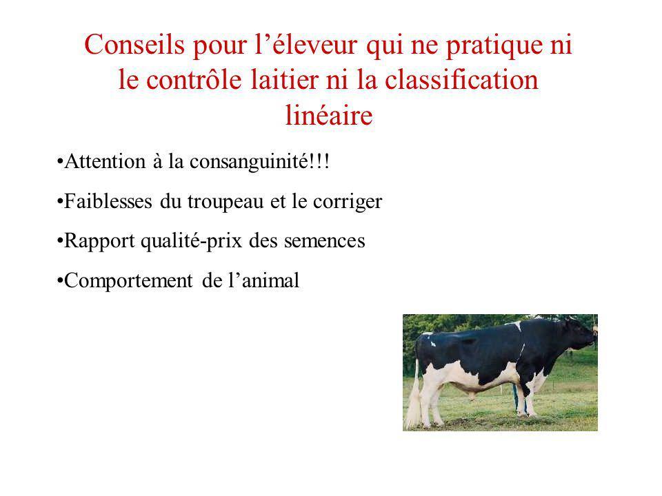 Conseils pour léleveur qui ne pratique ni le contrôle laitier ni la classification linéaire Attention à la consanguinité!!! Faiblesses du troupeau et