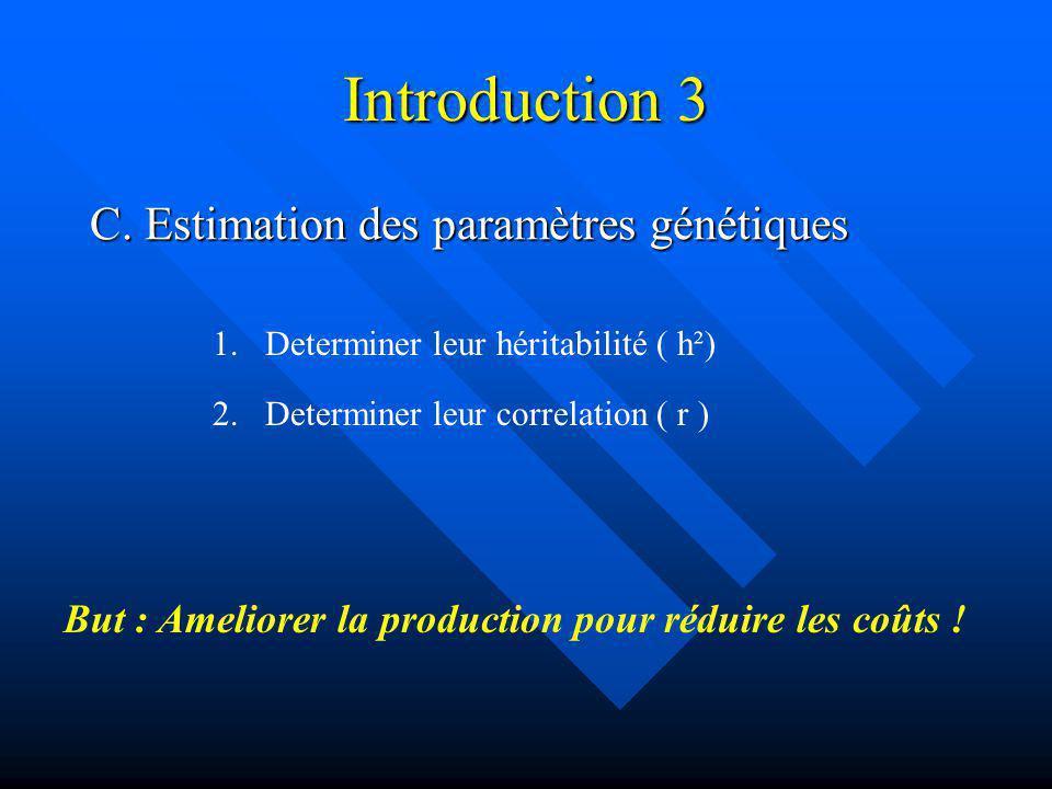 Introduction 3 C. Estimation des paramètres génétiques 1.Determiner leur héritabilité ( h²) 2. Determiner leur correlation ( r ) But : Ameliorer la pr