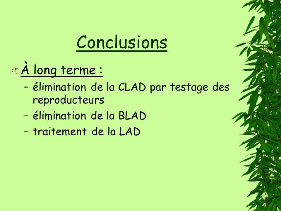 Conclusions À long terme : –élimination de la CLAD par testage des reproducteurs –élimination de la BLAD –traitement de la LAD