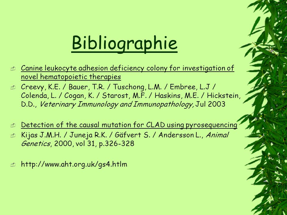 Bibliographie Canine leukocyte adhesion deficiency colony for investigation of novel hematopoietic therapies Creevy, K.E.