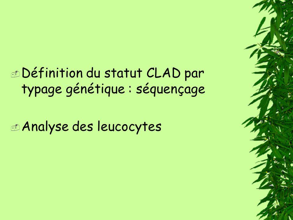 Définition du statut CLAD par typage génétique : séquençage Analyse des leucocytes