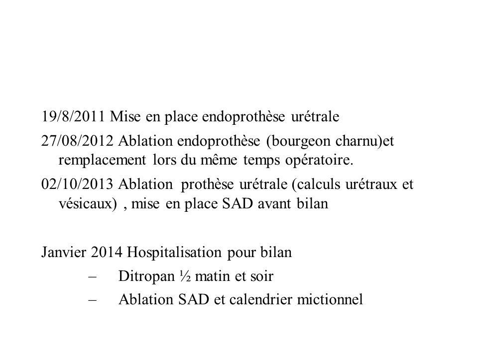 19/8/2011 Mise en place endoprothèse urétrale 27/08/2012 Ablation endoprothèse (bourgeon charnu)et remplacement lors du même temps opératoire. 02/10/2