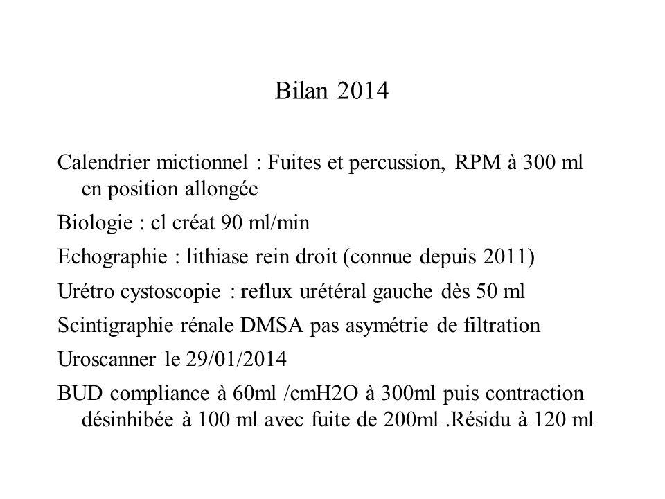 Bilan 2014 Calendrier mictionnel : Fuites et percussion, RPM à 300 ml en position allongée Biologie : cl créat 90 ml/min Echographie : lithiase rein d