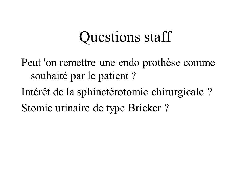 Questions staff Peut 'on remettre une endo prothèse comme souhaité par le patient ? Intérêt de la sphinctérotomie chirurgicale ? Stomie urinaire de ty
