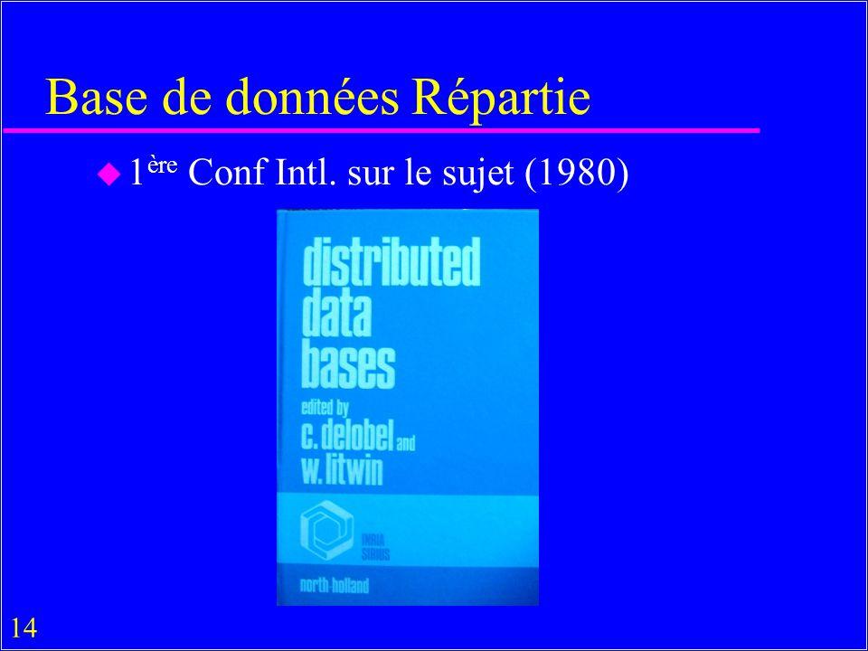 14 Base de données Répartie u 1 ère Conf Intl. sur le sujet (1980)