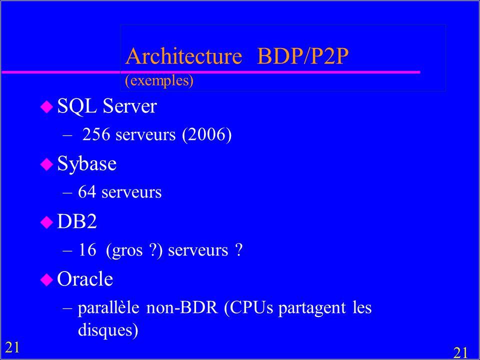 21 Architecture BDP/P2P (exemples) u SQL Server – 256 serveurs (2006) u Sybase –64 serveurs u DB2 –16 (gros ?) serveurs .