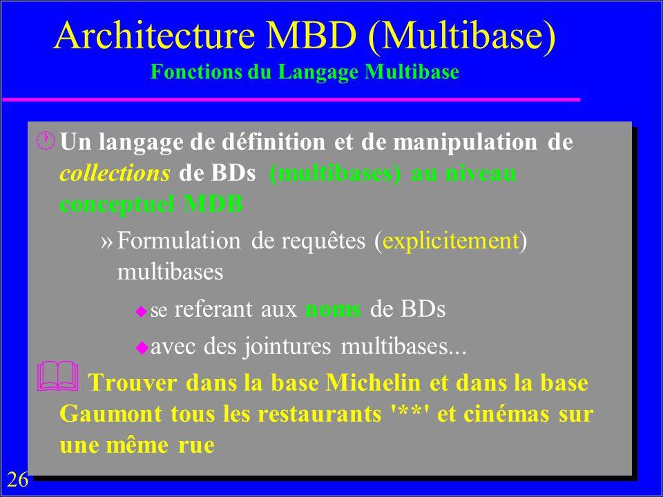 26 Architecture MBD (Multibase) Fonctions du Langage Multibase ·Un langage de définition et de manipulation de collections de BDs (multibases) au niveau conceptuel MDB »Formulation de requêtes (explicitement) multibases u se referant aux noms de BDs u avec des jointures multibases...