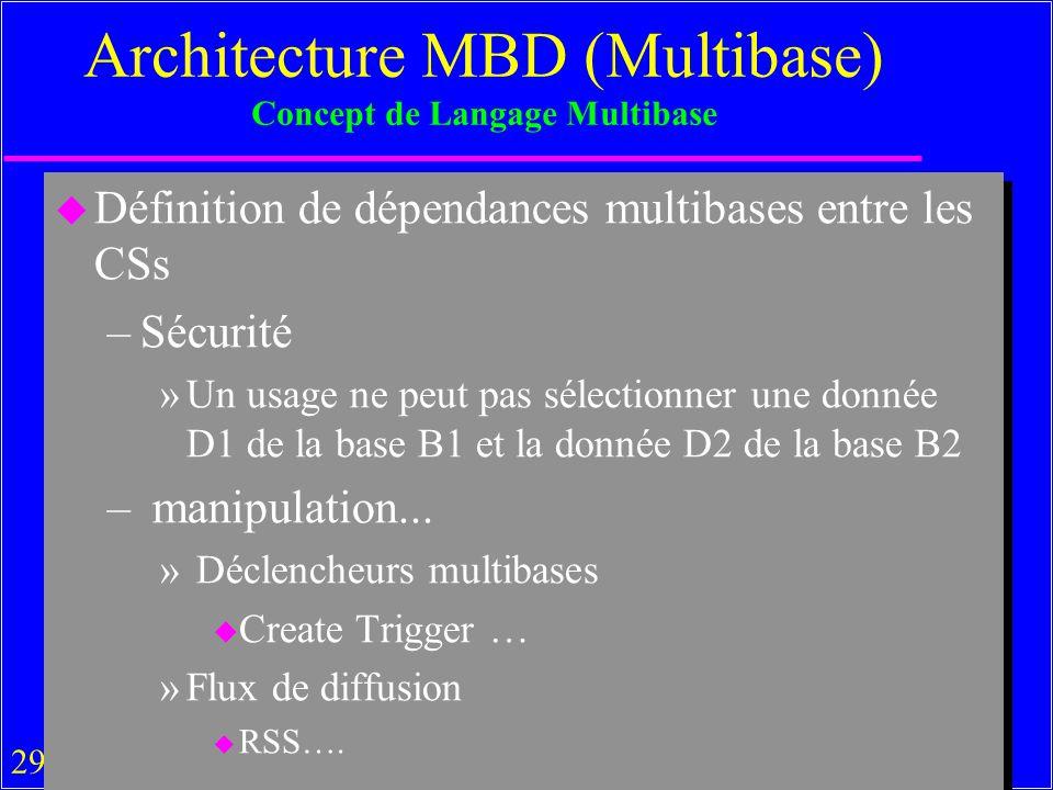 29 Architecture MBD (Multibase) Concept de Langage Multibase u Définition de dépendances multibases entre les CSs –Sécurité »Un usage ne peut pas sélectionner une donnée D1 de la base B1 et la donnée D2 de la base B2 – manipulation...