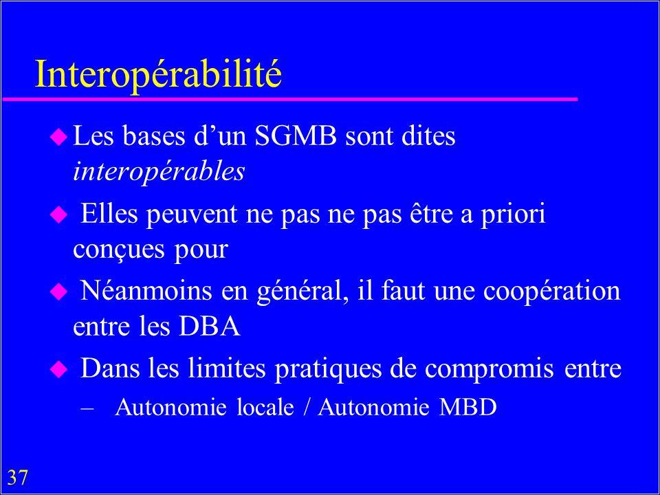 37 Interopérabilité u Les bases dun SGMB sont dites interopérables u Elles peuvent ne pas ne pas être a priori conçues pour u Néanmoins en général, il faut une coopération entre les DBA u Dans les limites pratiques de compromis entre – Autonomie locale / Autonomie MBD