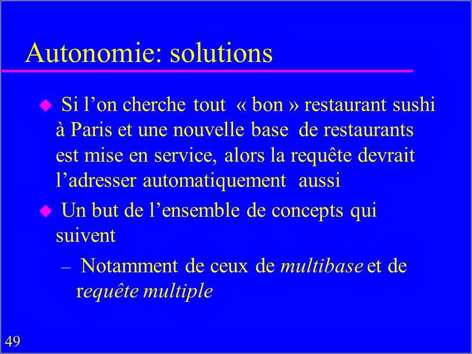 49 Autonomie: solutions u Si lon cherche tout « bon » restaurant sushi à Paris et une nouvelle base de restaurants est mise en service, alors la requête devrait ladresser automatiquement aussi u Un but de lensemble de concepts qui suivent – Notamment de ceux de multibase et de requête multiple