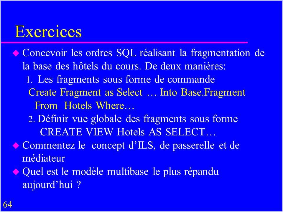 64 Exercices u Concevoir les ordres SQL réalisant la fragmentation de la base des hôtels du cours.