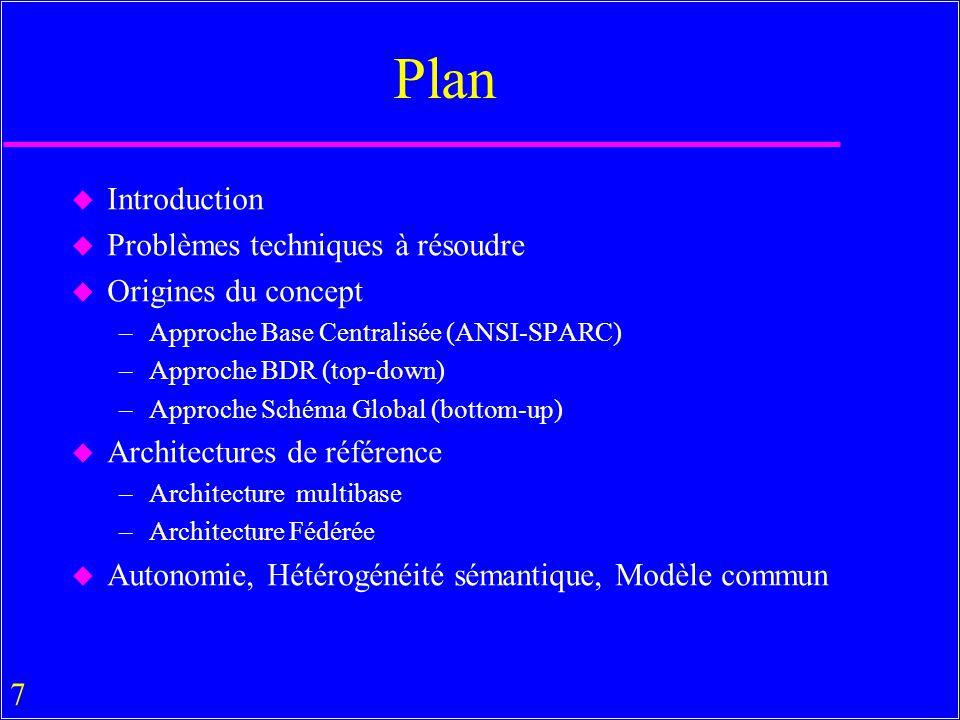 7 Plan u Introduction u Problèmes techniques à résoudre u Origines du concept –Approche Base Centralisée (ANSI-SPARC) –Approche BDR (top-down) –Approche Schéma Global (bottom-up) u Architectures de référence –Architecture multibase –Architecture Fédérée u Autonomie, Hétérogénéité sémantique, Modèle commun
