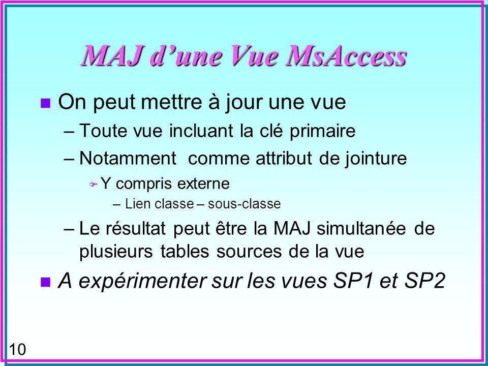10 MAJ dune Vue MsAccess n On peut mettre à jour une vue –Toute vue incluant la clé primaire –Notamment comme attribut de jointure F Y compris externe –Lien classe – sous-classe –Le résultat peut être la MAJ simultanée de plusieurs tables sources de la vue n A expérimenter sur les vues SP1 et SP2