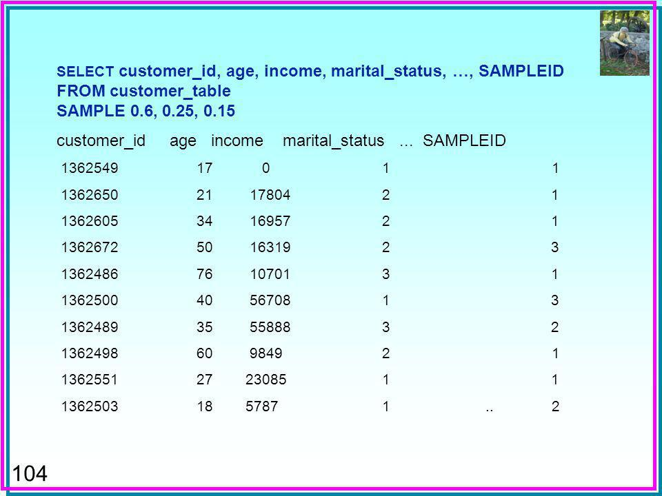 104 SELECT customer_id, age, income, marital_status, …, SAMPLEID FROM customer_table SAMPLE 0.6, 0.25, 0.15 customer_id age income marital_status...