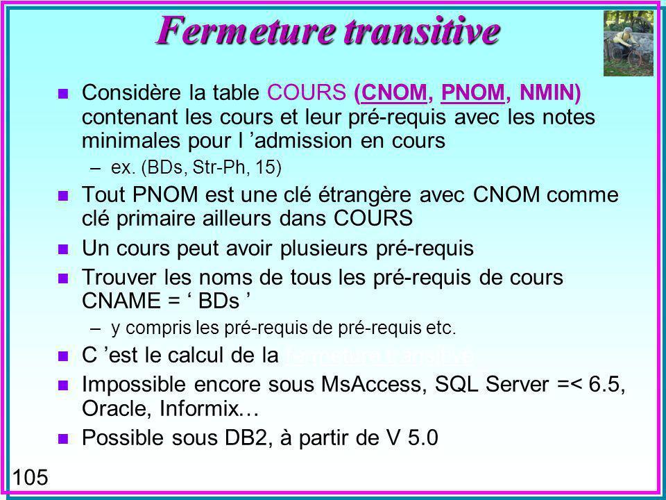 105 Fermeture transitive n Considère la table COURS (CNOM, PNOM, NMIN) contenant les cours et leur pré-requis avec les notes minimales pour l admission en cours –ex.