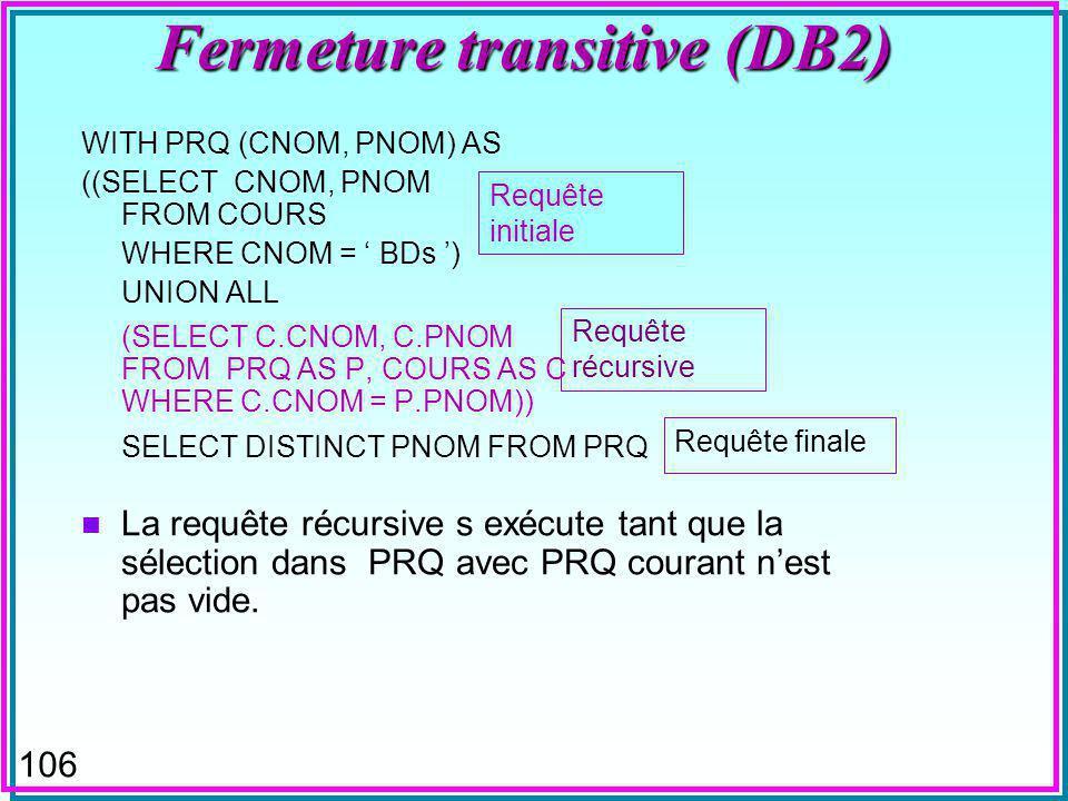 106 Fermeture transitive (DB2) WITH PRQ (CNOM, PNOM) AS ((SELECT CNOM, PNOM FROM COURS WHERE CNOM = BDs ) UNION ALL (SELECT C.CNOM, C.PNOM FROM PRQ AS P, COURS AS C WHERE C.CNOM = P.PNOM)) SELECT DISTINCT PNOM FROM PRQ n La requête récursive s exécute tant que la sélection dans PRQ avec PRQ courant nest pas vide.