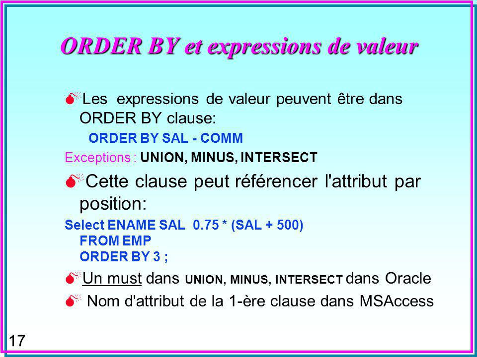 17 ORDER BY et expressions de valeur Les expressions de valeur peuvent être dans ORDER BY clause: ORDER BY SAL - COMM Exceptions : UNION, MINUS, INTERSECT Cette clause peut référencer l attribut par position: Select ENAME SAL 0.75 * (SAL + 500) FROM EMP ORDER BY 3 ; Un must dans UNION, MINUS, INTERSECT dans Oracle Nom d attribut de la 1-ère clause dans MSAccess