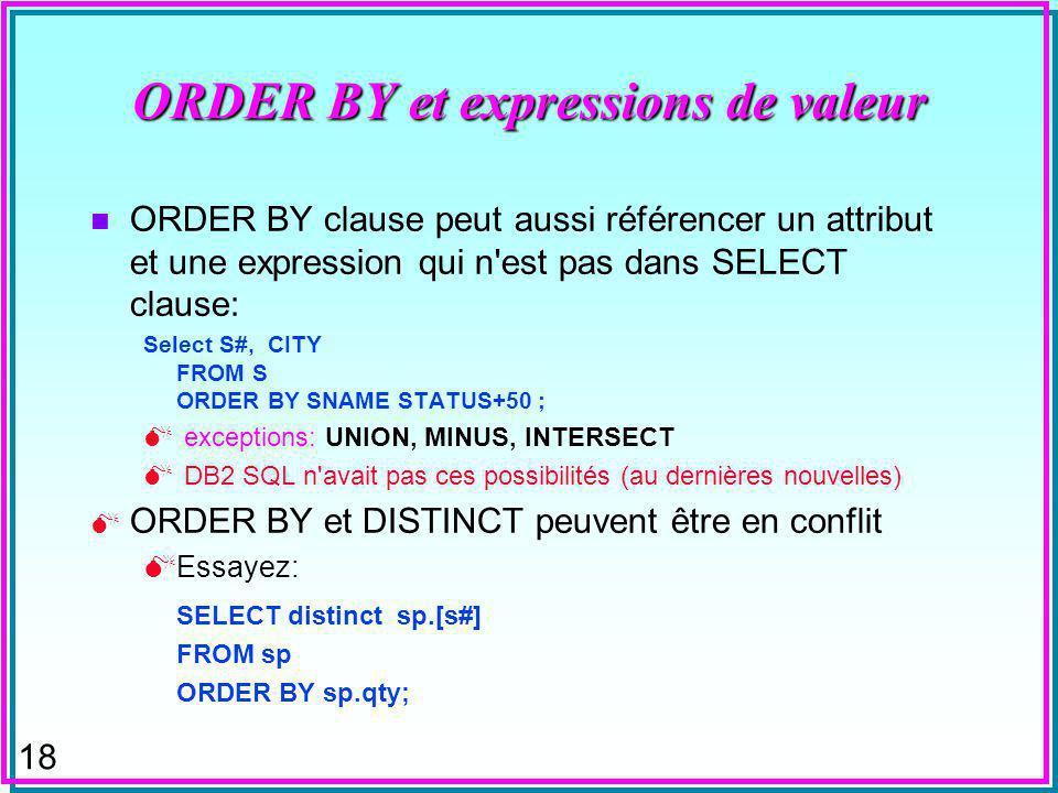 18 ORDER BY et expressions de valeur n ORDER BY clause peut aussi référencer un attribut et une expression qui n est pas dans SELECT clause: Select S#, CITY FROM S ORDER BY SNAME STATUS+50 ; exceptions: UNION, MINUS, INTERSECT DB2 SQL n avait pas ces possibilités (au dernières nouvelles) ORDER BY et DISTINCT peuvent être en conflit Essayez: SELECT distinct sp.[s#] FROM sp ORDER BY sp.qty;