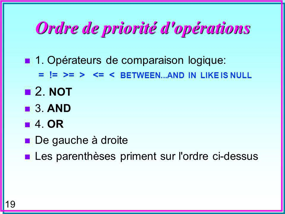 19 Ordre de priorité d'opérations n 1. Opérateurs de comparaison logique: = != >= > <= < BETWEEN...AND IN LIKE IS NULL n 2. NOT n 3. AND n 4. OR n De