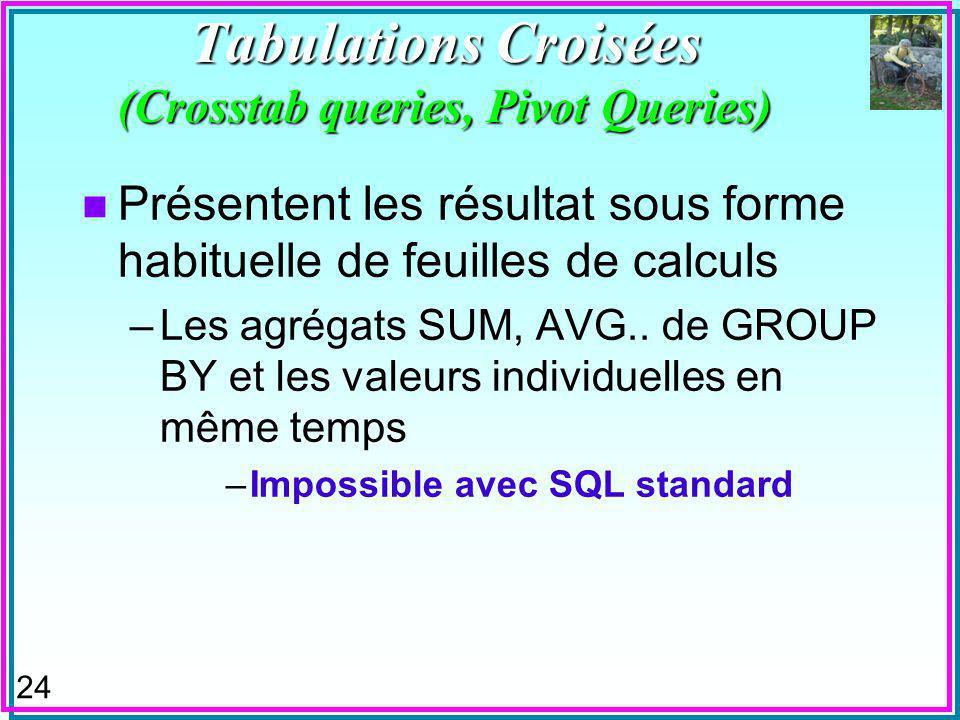 24 Tabulations Croisées (Crosstab queries, Pivot Queries) n Présentent les résultat sous forme habituelle de feuilles de calculs –Les agrégats SUM, AVG..
