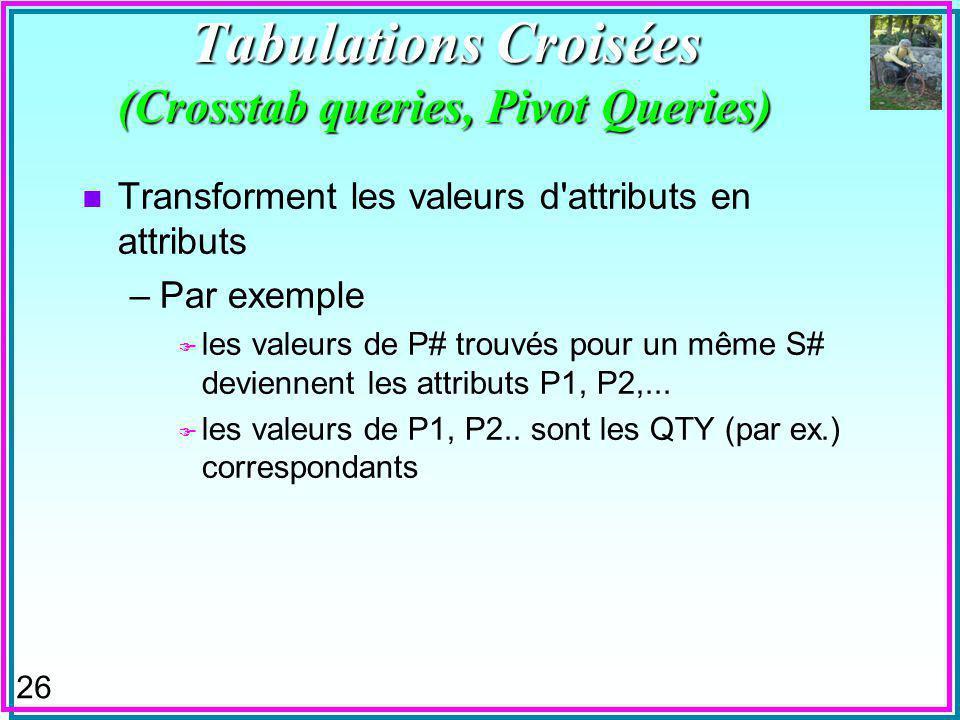 26 Tabulations Croisées (Crosstab queries, Pivot Queries) n Transforment les valeurs d attributs en attributs –Par exemple F les valeurs de P# trouvés pour un même S# deviennent les attributs P1, P2,...