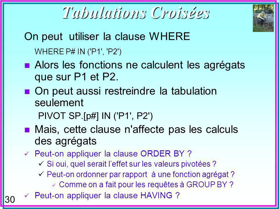 30 On peut utiliser la clause WHERE WHERE P# IN ( P1 , P2 ) n Alors les fonctions ne calculent les agrégats que sur P1 et P2.