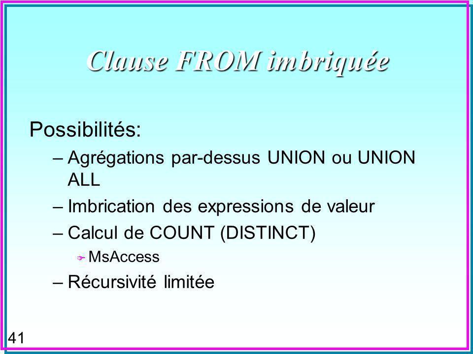 41 Clause FROM imbriquée Possibilités: –Agrégations par-dessus UNION ou UNION ALL –Imbrication des expressions de valeur –Calcul de COUNT (DISTINCT) F MsAccess –Récursivité limitée