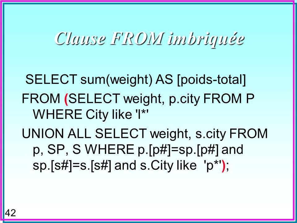 42 Clause FROM imbriquée SELECT sum(weight) AS [poids-total] FROM (SELECT weight, p.city FROM P WHERE City like l* UNION ALL SELECT weight, s.city FROM p, SP, S WHERE p.[p#]=sp.[p#] and sp.[s#]=s.[s#] and s.City like p* );