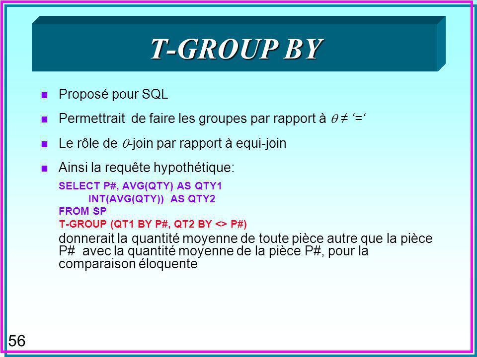 56 T-GROUP BY n Proposé pour SQL n Permettrait de faire les groupes par rapport à = n Le rôle de -join par rapport à equi-join n Ainsi la requête hypothétique: SELECT P#, AVG(QTY) AS QTY1 INT(AVG(QTY)) AS QTY2 FROM SP T-GROUP (QT1 BY P#, QT2 BY <> P#) donnerait la quantité moyenne de toute pièce autre que la pièce P# avec la quantité moyenne de la pièce P#, pour la comparaison éloquente