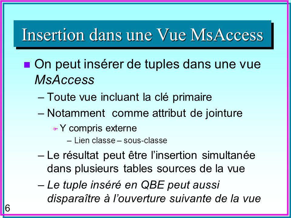 6 n On peut insérer de tuples dans une vue MsAccess –Toute vue incluant la clé primaire –Notamment comme attribut de jointure F Y compris externe –Lien classe – sous-classe –Le résultat peut être linsertion simultanée dans plusieurs tables sources de la vue –Le tuple inséré en QBE peut aussi disparaître à louverture suivante de la vue Insertion dans une Vue MsAccess