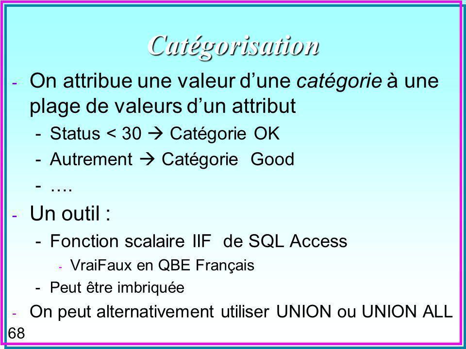 68 Catégorisation - On attribue une valeur dune catégorie à une plage de valeurs dun attribut -Status < 30 Catégorie OK -Autrement Catégorie Good -….