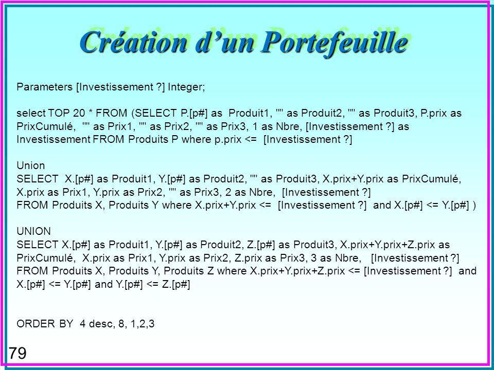 79 Création dun Portefeuille Parameters [Investissement ] Integer; select TOP 20 * FROM (SELECT P.[p#] as Produit1, as Produit2, as Produit3, P.prix as PrixCumulé, as Prix1, as Prix2, as Prix3, 1 as Nbre, [Investissement ] as Investissement FROM Produits P where p.prix <= [Investissement ] Union SELECT X.[p#] as Produit1, Y.[p#] as Produit2, as Produit3, X.prix+Y.prix as PrixCumulé, X.prix as Prix1, Y.prix as Prix2, as Prix3, 2 as Nbre, [Investissement ] FROM Produits X, Produits Y where X.prix+Y.prix <= [Investissement ] and X.[p#] <= Y.[p#] ) UNION SELECT X.[p#] as Produit1, Y.[p#] as Produit2, Z.[p#] as Produit3, X.prix+Y.prix+Z.prix as PrixCumulé, X.prix as Prix1, Y.prix as Prix2, Z.prix as Prix3, 3 as Nbre, [Investissement ] FROM Produits X, Produits Y, Produits Z where X.prix+Y.prix+Z.prix <= [Investissement ] and X.[p#] <= Y.[p#] and Y.[p#] <= Z.[p#] ORDER BY 4 desc, 8, 1,2,3