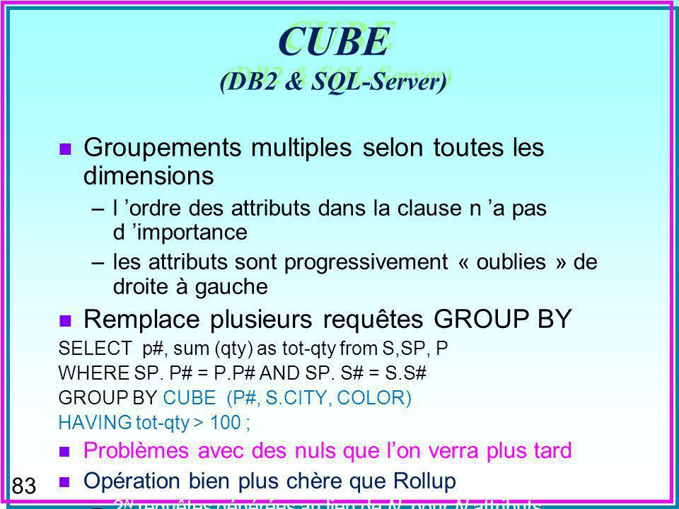 83 CUBE (DB2 & SQL-Server) n Groupements multiples selon toutes les dimensions –l ordre des attributs dans la clause n a pas d importance –les attributs sont progressivement « oublies » de droite à gauche n Remplace plusieurs requêtes GROUP BY SELECT p#, sum (qty) as tot-qty from S,SP, P WHERE SP.