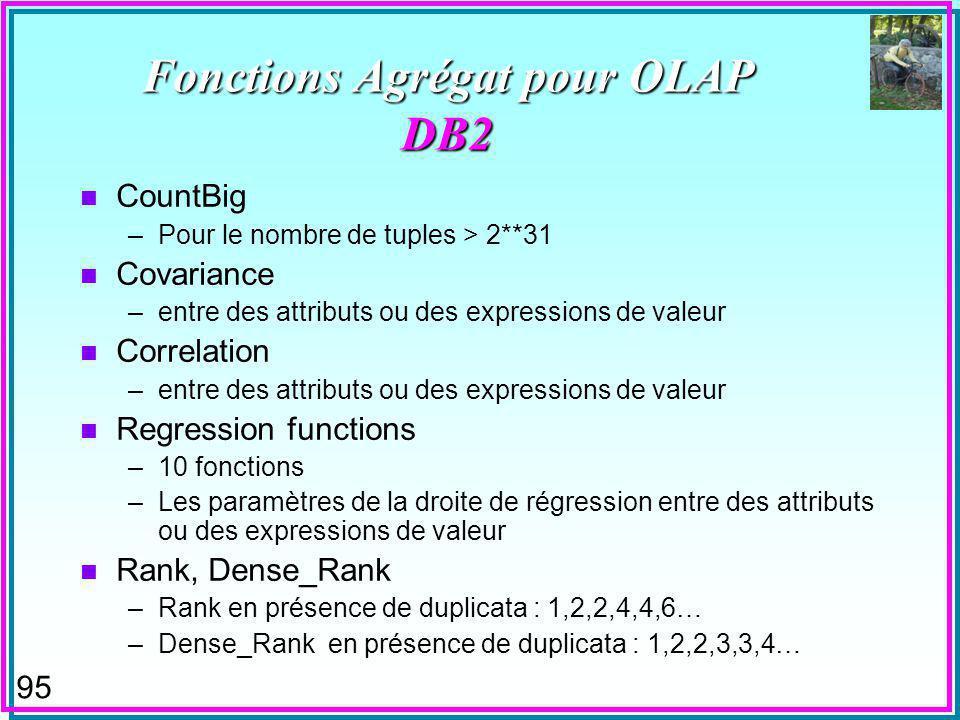 95 Fonctions Agrégat pour OLAP DB2 n CountBig –Pour le nombre de tuples > 2**31 n Covariance –entre des attributs ou des expressions de valeur n Correlation –entre des attributs ou des expressions de valeur n Regression functions –10 fonctions –Les paramètres de la droite de régression entre des attributs ou des expressions de valeur n Rank, Dense_Rank –Rank en présence de duplicata : 1,2,2,4,4,6… –Dense_Rank en présence de duplicata : 1,2,2,3,3,4…