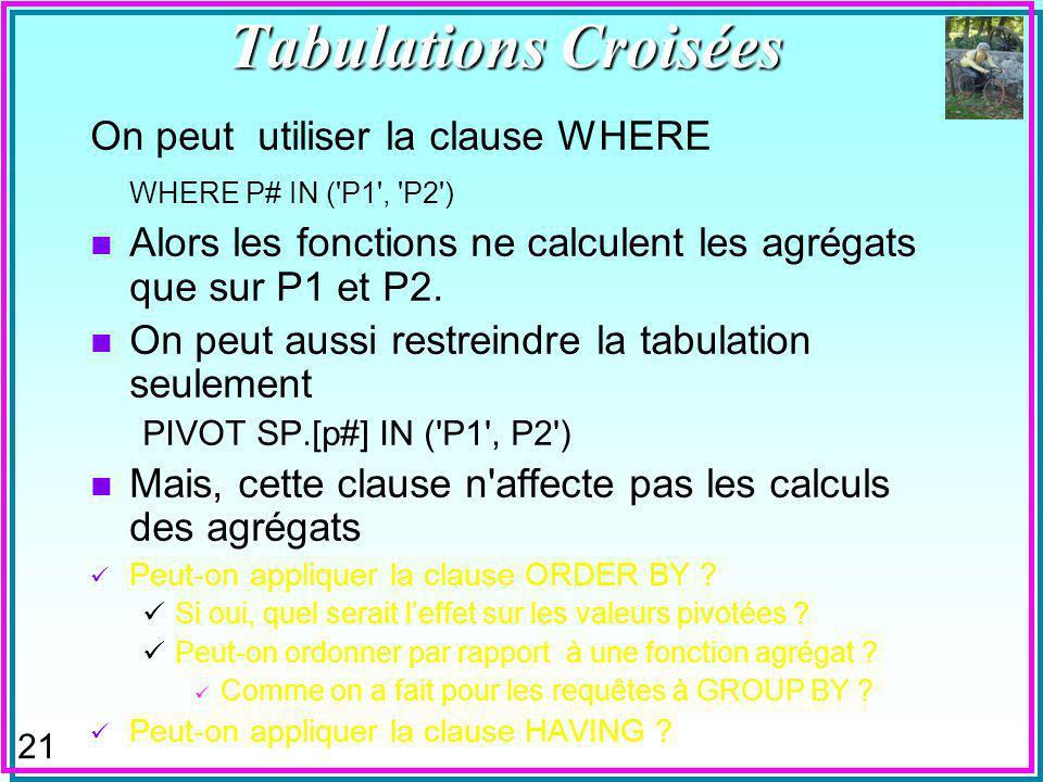 21 On peut utiliser la clause WHERE WHERE P# IN ( P1 , P2 ) n Alors les fonctions ne calculent les agrégats que sur P1 et P2.