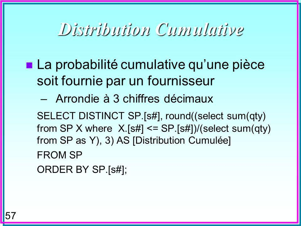 57 Distribution Cumulative n La probabilité cumulative quune pièce soit fournie par un fournisseur –Arrondie à 3 chiffres décimaux SELECT DISTINCT SP.[s#], round((select sum(qty) from SP X where X.[s#] <= SP.[s#])/(select sum(qty) from SP as Y), 3) AS [Distribution Cumulée] FROM SP ORDER BY SP.[s#];