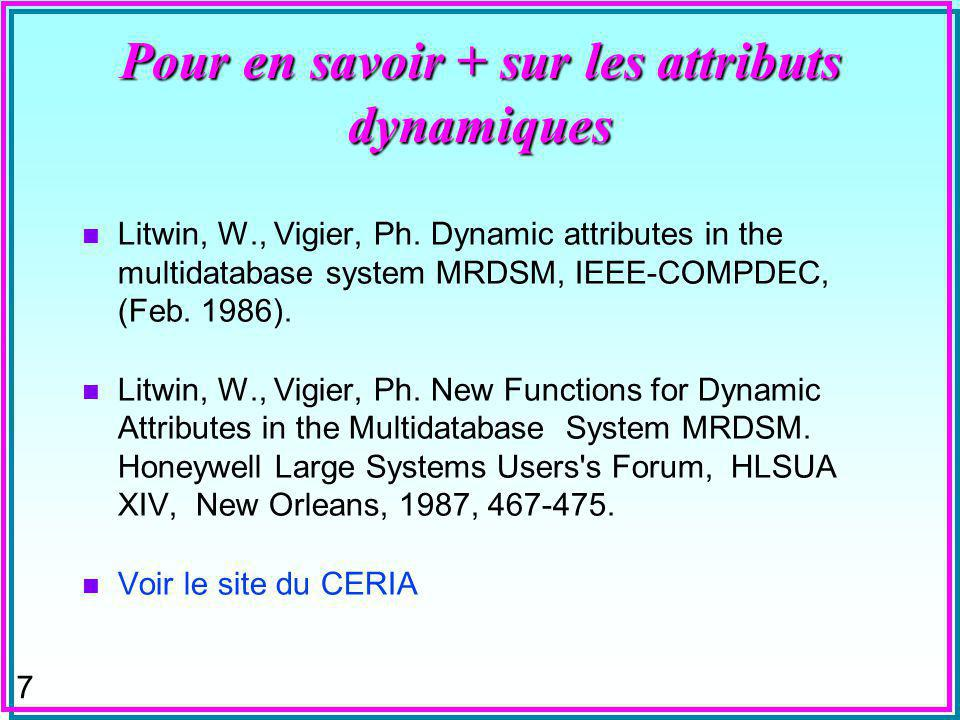 48 T-GROUP BY n On peut réaliser la requête précédente à lheure actuelle sous MsAccess comme: SELECT DISTINCT SP.[p#] AS part, (SELECT int(avg(QTY)) FROM SP AS X WHERE X.[P#] <> SP.[P#]) AS avg_qty_other_parts, (SELECT avg(QTY) FROM SP AS X WHERE X.[P#] = SP.[P#]) AS part_avg_qty FROM SP; n Vrai ou Faux ?