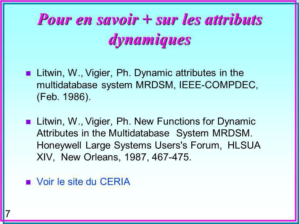 7 Pour en savoir + sur les attributs dynamiques n Litwin, W., Vigier, Ph.