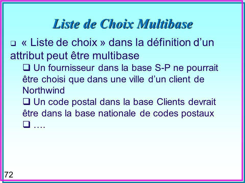 72 Liste de Choix Multibase « Liste de choix » dans la définition dun attribut peut être multibase Un fournisseur dans la base S-P ne pourrait être choisi que dans une ville dun client de Northwind Un code postal dans la base Clients devrait être dans la base nationale de codes postaux ….