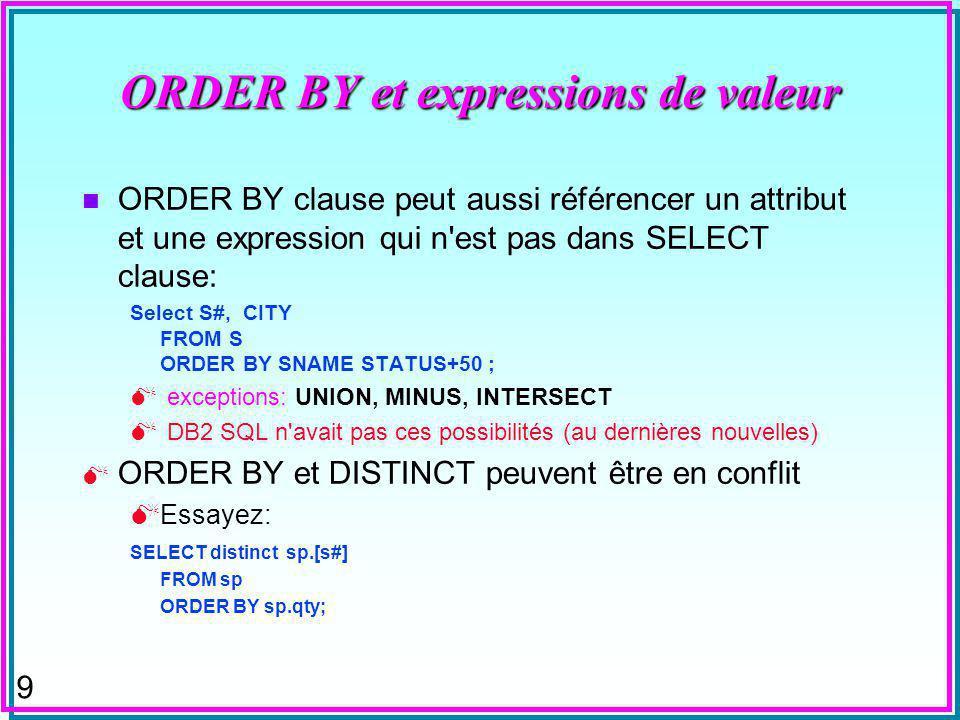 9 ORDER BY et expressions de valeur n ORDER BY clause peut aussi référencer un attribut et une expression qui n est pas dans SELECT clause: Select S#, CITY FROM S ORDER BY SNAME STATUS+50 ; exceptions: UNION, MINUS, INTERSECT DB2 SQL n avait pas ces possibilités (au dernières nouvelles) ORDER BY et DISTINCT peuvent être en conflit Essayez: SELECT distinct sp.[s#] FROM sp ORDER BY sp.qty;