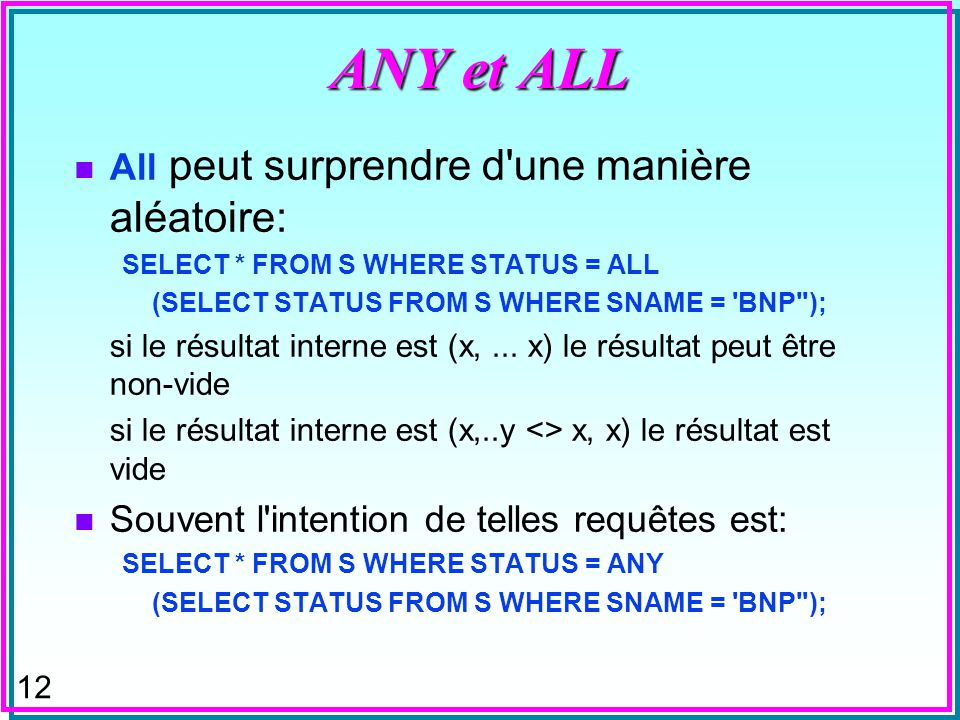 11 Limitations de NOT n Trouver tous les fournisseurs qui ne sont pas dans une ville d un fournisseur dans S SELECT * FROM S WHERE CITY NOT IN (SELECT CITY FROM S) ; n Que veut dire cette réponse (vide) .
