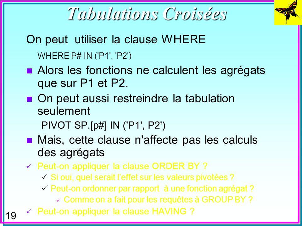 18 n La fonction agrégat dans la clause TRANSFORM est obligatoire –bien que SUM(QTY) = AVG(QTY) = QTY –mais, COUNT(QTY) = 1 n On peut générer une expr