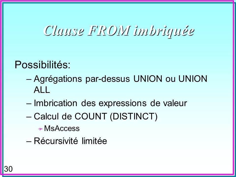 29 Clause FROM imbriquée n Définit une table dans la clause FROM dune expression de sélection SQL (SQL-Select) –Cette dernière peut-être imbriquée à s