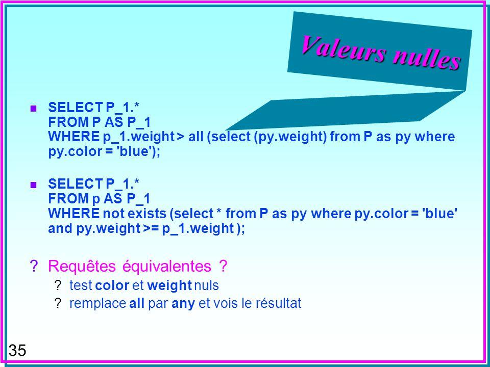 34 Valeurs nulles n Si x est nul et y nest pas, alors: 1. x > y est vrai ou faux ? 2. x < y est vrai ou faux ? –ex. pour évaluer ORDER BY n DB2 : oui