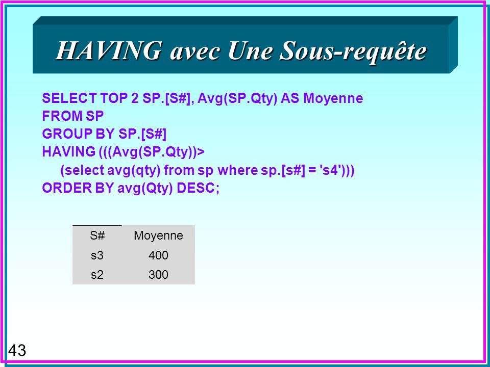 42 GROUP BY n Est une clause redondante avec le SELECT à sous- requêtes n La requête SELECT P#, MAX(QTY) FROM SP GROUP BY P# ; est équivalente à SELEC