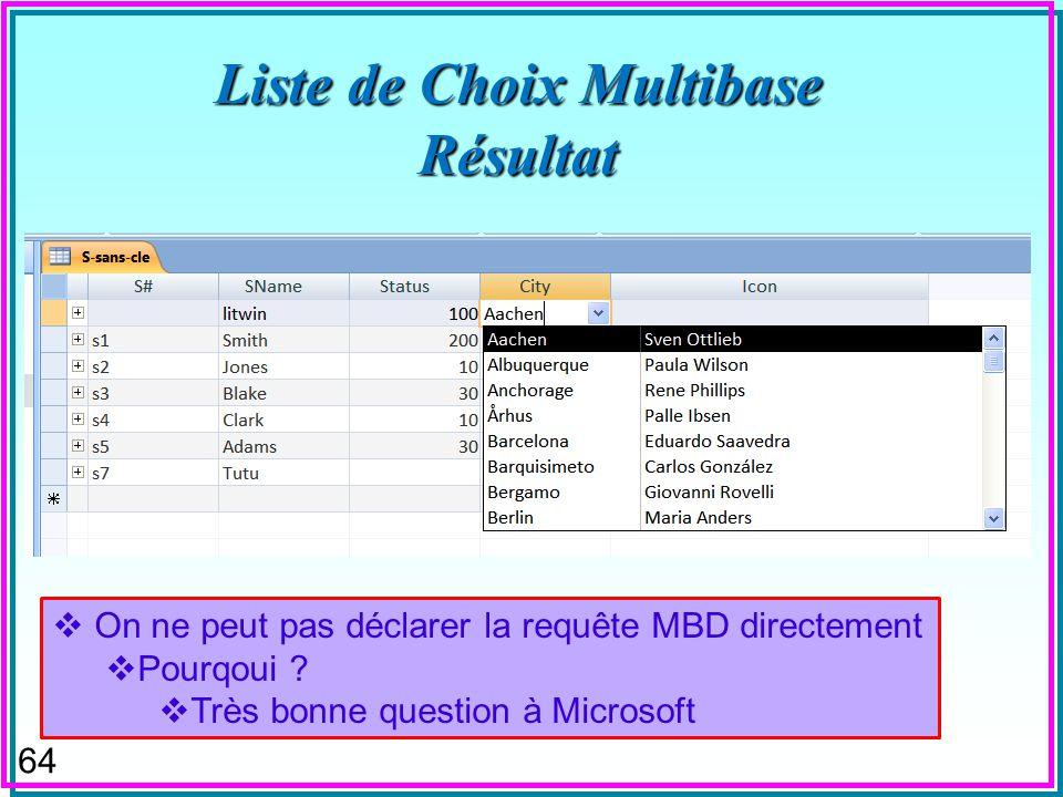 63 Liste de Choix Multibase Requête : Test-liste-de-choix mdb SELECT C.[City], C.ContactName FROM [northwind2000].customers AS C ORDER BY C.City, C.Co
