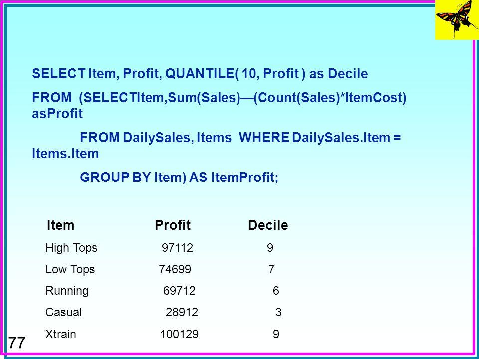 76 SELECT MarketWeek, WeekVolume, MDIFF (WeekVolume,1,MarketWeek)asXYZVolumeDiff FROM (SELECT MarketWeek, SUM(Volume) as WeekVolume FROM MarketDailyCl