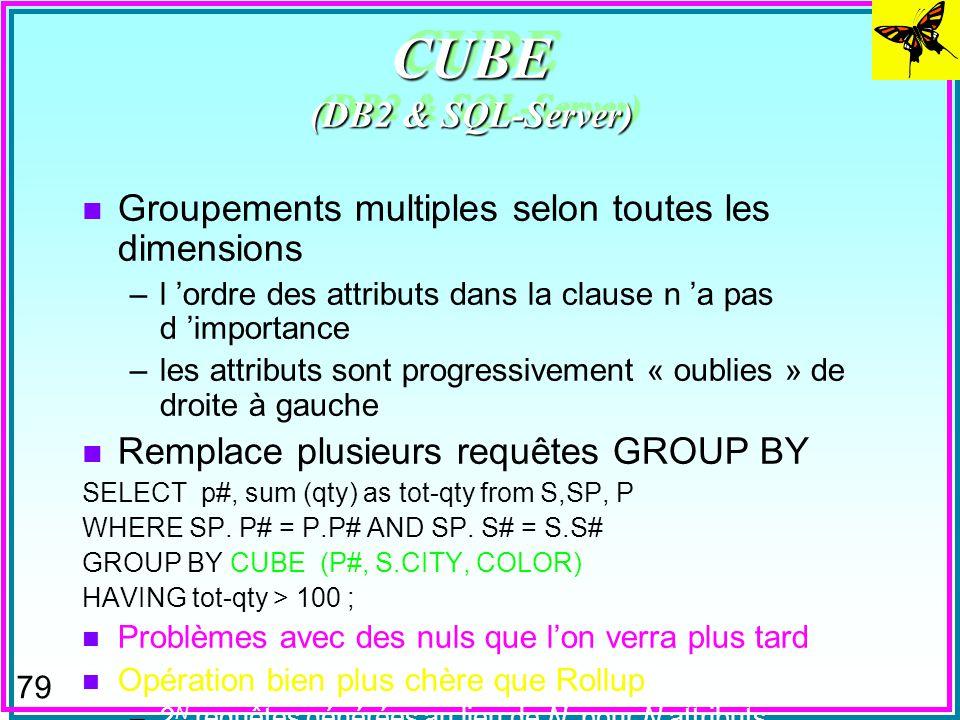 78 ROLLUP (DB2 & SQL-Server) n Groupements multiples (super-groupes) selon une dimension –l ordre des attributs dans la clause a l importance –les att