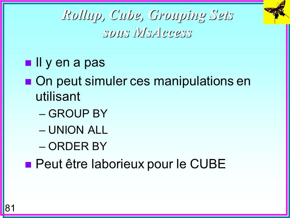 80 GROUPING SETS n On indique explicitement les groupes –entre (..) F le groupe () est constitué de toute la table SELECT p#, sum (qty) as tot-qty fro